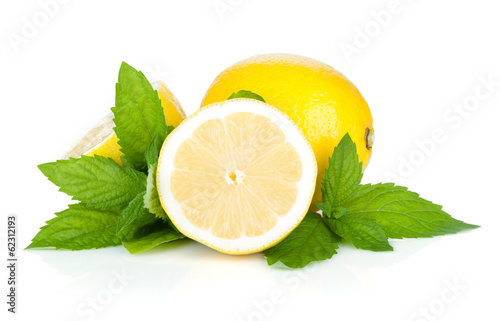 Three ripe lemons and mint