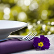 canvas print picture - Place setting and purple flower