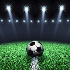 Soccer arena and ball with floodlights,Football pitch © nobeastsofierce