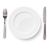 Empty plate with knife and fork isolated on a white background