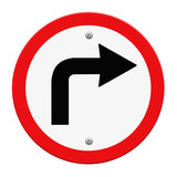 Road sign turn left isolate on white background, Part of a serie
