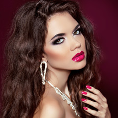 Beauty makeup girl. Manicured nails. Glamour Fashion Woman Portr