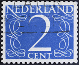 Stamp printed in the Netherlands showing it's value of 2 cent, c