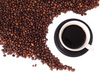 Coffee and beans isolated on a white background