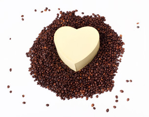Coffee beans heart shape on isolated