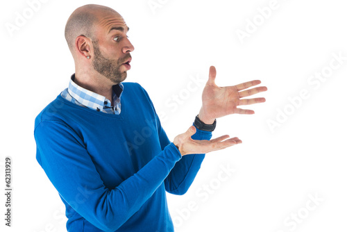 Man over white background
