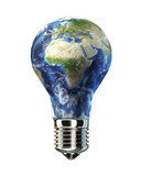 Light bulb with planet Earth in place of glass. Africa & Europe