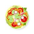Vegetables on cabbage leaf