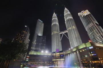 Kuala Lumpur KLCC Park Skyline by Water Fountain