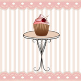 nice table and funny pink stripped icon