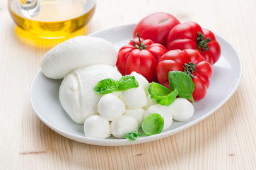 Mozzarella Cheese with Tomato and Basil