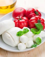 Mozzarella Cheese with Tomato and Basil