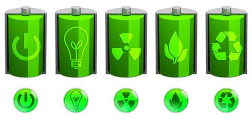 Pile e simboli di energia