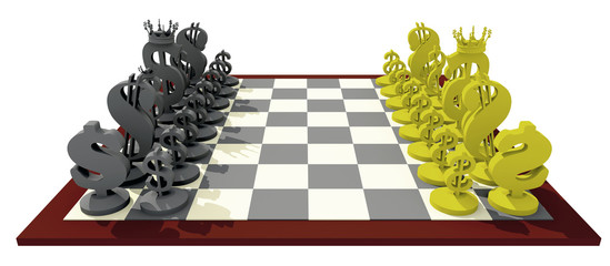 3D dollars chessboard