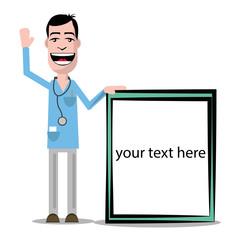 Freundlicher Arzt präsentiert Ihren Text