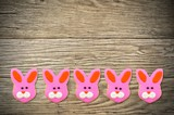 Cute Easter or spring bunny cookies on a wooden background