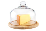 Glass cheese dome with cheese , isolated