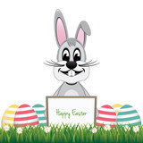 gray bunny behind board colorful eggs isolated background