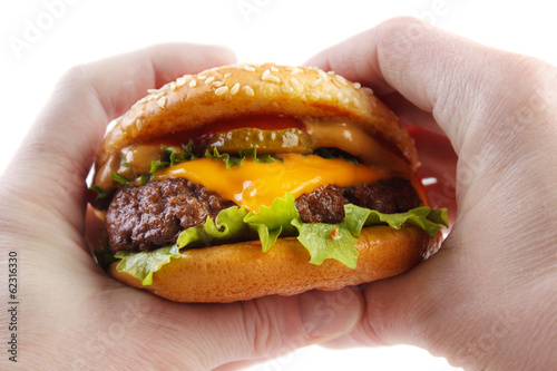 Hands holding cheese burger , isolated on white