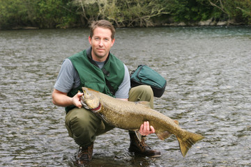 Man lands Large Salmon