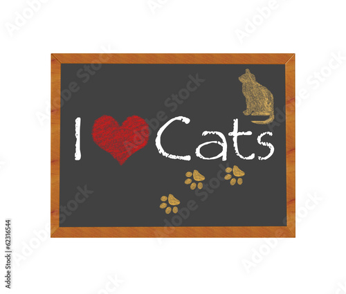 Blackboard symbolizing I love Cats