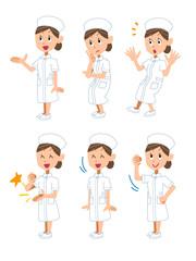 看護婦の女性6種類のポーズと仕草