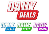 daily deals, four colors labels