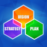 vision, strategy, plan in hexagons, flat design