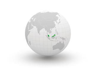 Globe. 3d. Malaysia.