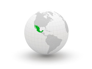 Globe. 3d. Mexico.
