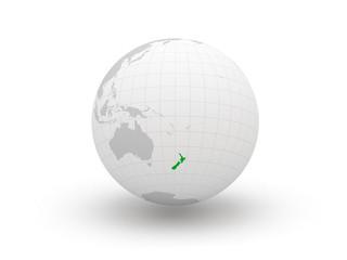 Globe. 3d. New Zealand.