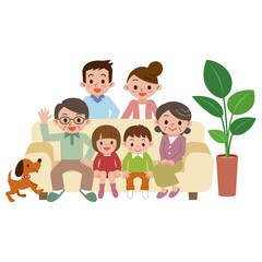 リビングに集まる幸せ家族