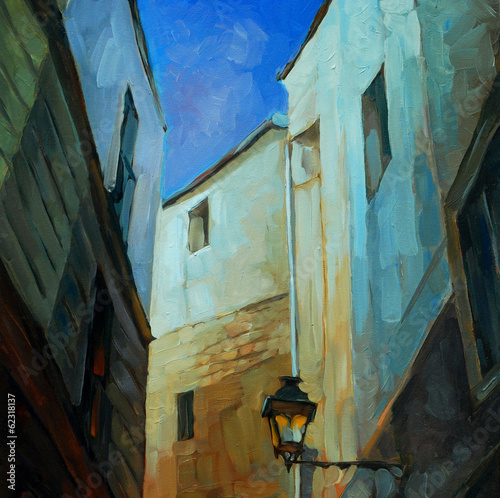 in gothic quarter of barcelona, painting by oil on canvas, illus