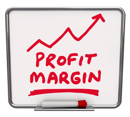 Profit Margin Words Dry Erase Board Arrow Up Growing Net Earning
