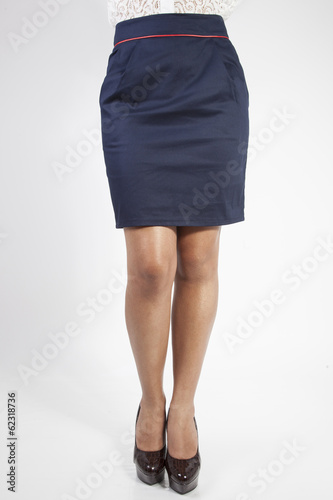pretty women in skirt on white background
