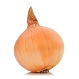 Fresh bulbs of onion isolated on white background