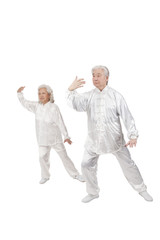 .Two senior people doing Tai Chi.