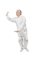 .Senior man doing Tai Chi.