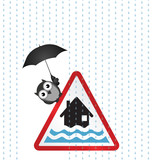 Flood warning sign with bird