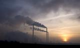 power station at dusk