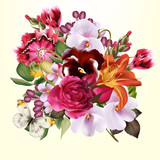 Fashion floral background with colorful spring flowers