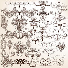 Collection of vector flourishes and decorative swirls in vintage