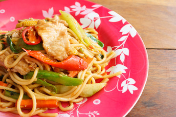Stir Fried Spicy Spaghetti With Pork (Thai Food)