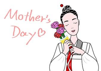 割烹着のお母さん、母の日