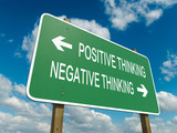 Road sign to positive or negative thinking
