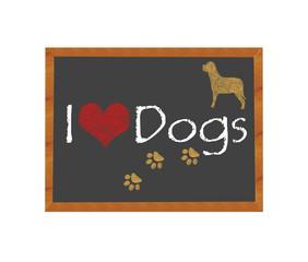 Blackboard symbolizing I love Dogs