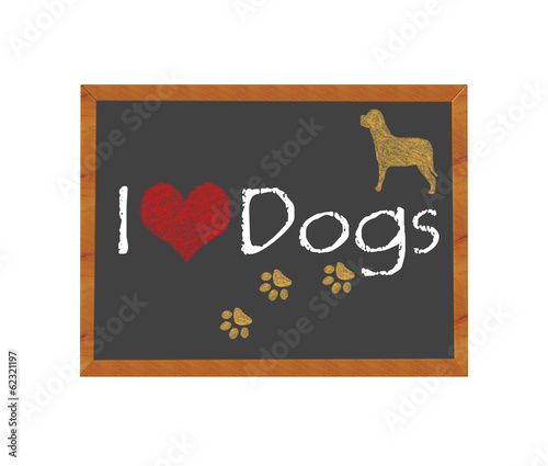 Blackboard symbolizing I love Dogs