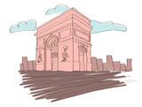 Arc de triomphe - Paris - France. Vector illustration