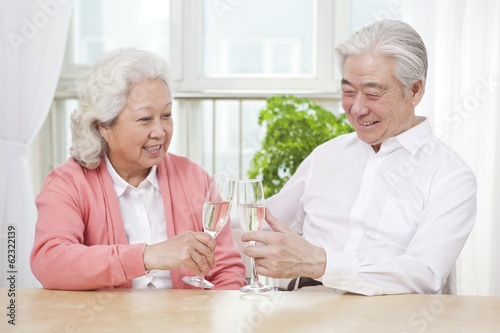 .Senior couple toasting for anniversary.