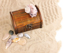 Chest and seashells on sand